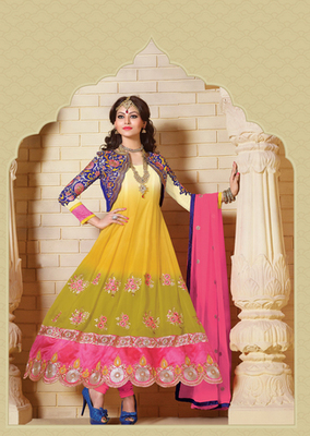 Yellow & Green Color Designer Anarkali Suit On 60 Gm Georgette Fabric