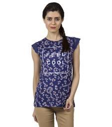 Buy Women navy indigo floral print t shirt party-top online