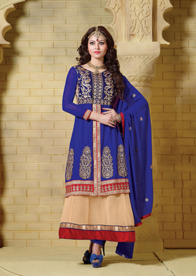 Blue & Beige Color Designer Anarkali Suit On 60 Gm Georgette Fabric