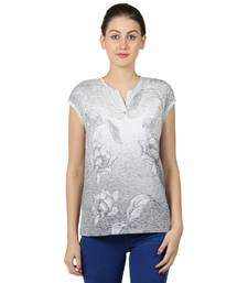 Buy Women grey sigle jersey neps floral print t shirt party-top online