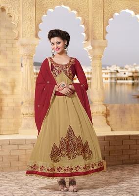 Beige Color Anarkali Suit On 60 Gm Georgette Resham Thread Embroidery Work