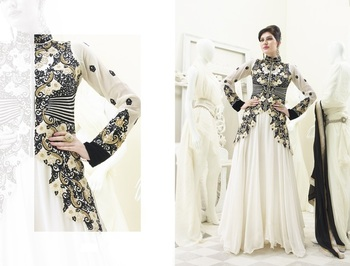 White and Black color heavy embroided semistitched designer anarkali suit
