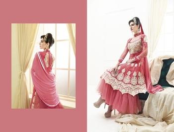 pink color heavy embroided semistitched designer anarkali suit