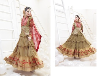 Brown color heavy embroided semistitched designer anarkali suit