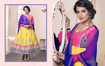 Pink and yellow color heavy embroided semistitched designer anarkali suit