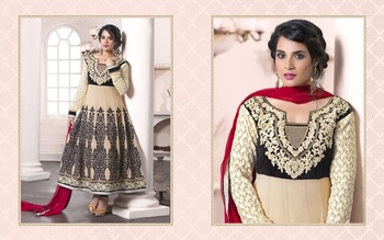 cream color heavy embroided semistitched designer anarkali suit