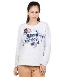 Buy Women ecru dyed fleece printed t shirt party-top online