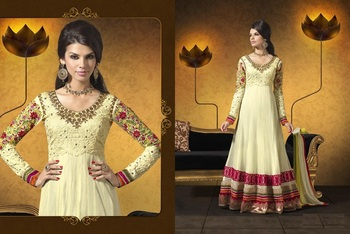 Off white color heavy embroided semistitched designer anarkali suit