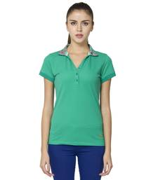 Buy Women green piquet solid t shirt party-top online