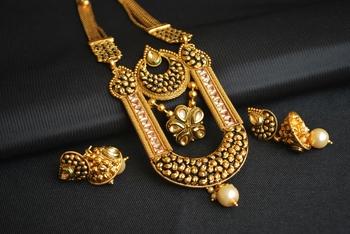 Kundan and black meenakari work multilayer pure copper  long haram set