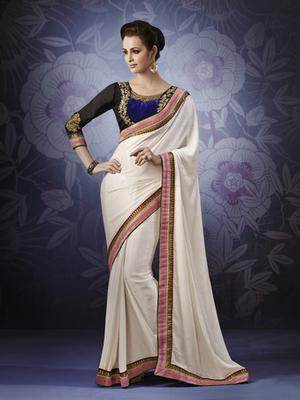 Cream Chiffon Designer Saree