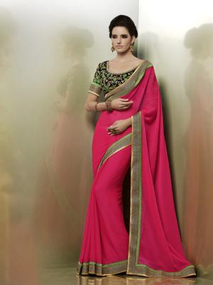 Heavy Brodered Chiffon Designer Saree