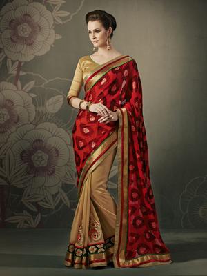 Sensious Brasso Red Designer Saree