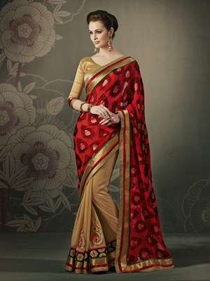 Sensious Brasso Red Designer Saree