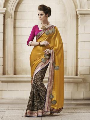 Sparkling Satin Yellow Designer Saree