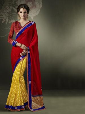 Cotton Jacquard Red Designer Saree