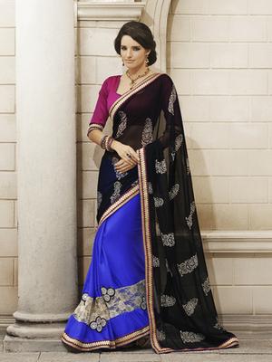 Stunning Black Chiffon Designer Sarees