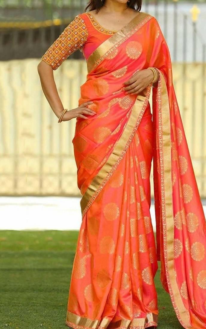 dd9a8082faddae Orange printed silk saree with blouse Orange printed silk saree with blouse