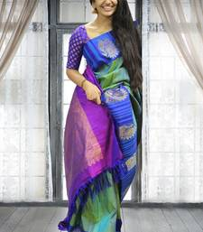 Buy Multicolor printed silk saree with blouse ethnic-saree online