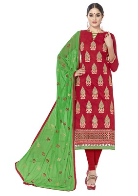 Red ebroidered chanderi salwar with dupatta