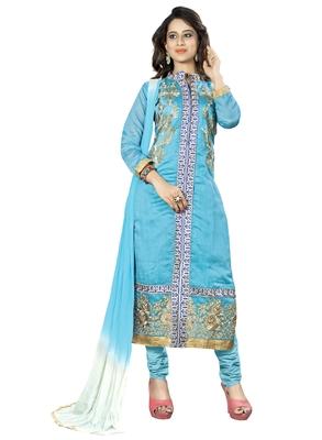 Sky Blue Ebroidered Chanderi Salwar With Dupatta