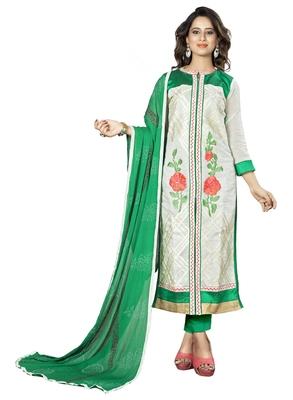 White Ebroidered Chanderi Salwar With Dupatta