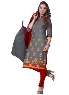 Grey ebroidered linen salwar with dupatta