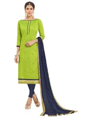 Green Ebroidered Cotton Salwar With Dupatta