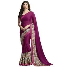 Buy Purple printed georgette saree with blouse below-1500 online