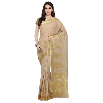 Beige Woven Polycotton Saree With Blouse