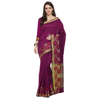 Magenta Woven Polycotton Saree With Blouse