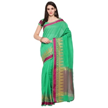 Green Woven Polycotton Saree With Blouse