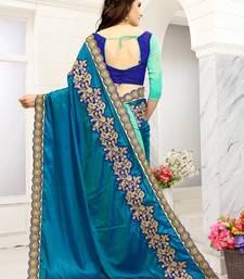 Turquoise embroidered art silk sarees saree with blouse