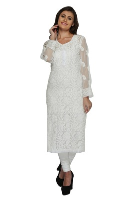 Cream Embroidered Stitched Georgette Kurti