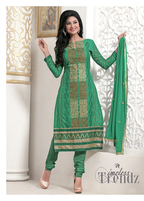 Green Camric Dress Material