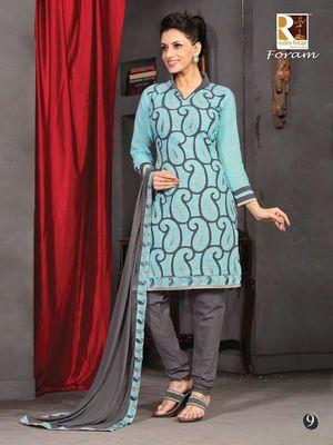 Blue Embroidery Cotton unstiched SalwarCotton salwar kameez