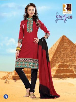 Red Embroidery Cotton unstiched SalwarCotton salwar kameez