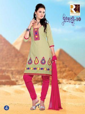 Green Embroidery Cotton unstiched SalwarCotton salwar kameez