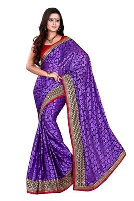 Aesha designer Brasso purple saree with Matching Blouse