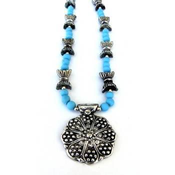 Flower Pendant necklace: Blue/JW-011Blue