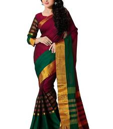 Buy Multicolour Solid Cotton Silk Saree With blouse party-wear-saree online