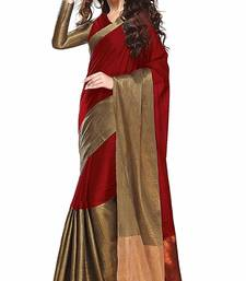 Buy Red Solid Silk Saree With blouse party-wear-saree online