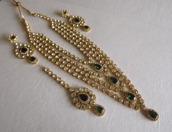 Golden Raani Haar Necklace Set In Kundan Stones & Austrian Diamonds