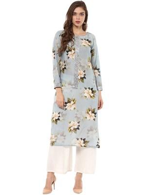 Blue printed cotton stitched kurtas-and-kurtis