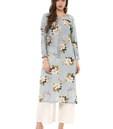 Blue printed cotton stitched kurtas-and-kurtis
