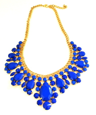 Blue acrylic alloy  necklace