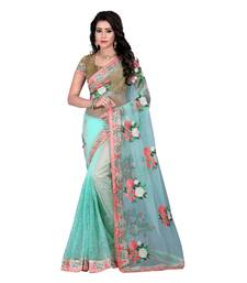 Buy light_turquoise embroidered net saree with blouse net-saree online