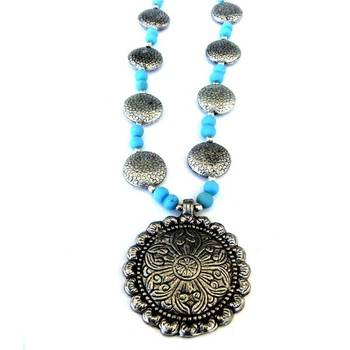 Flower Pendant necklace: Blue/015Blue