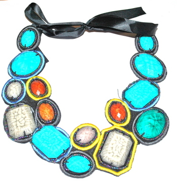 Blue acrylic felt handmade bib necklace
