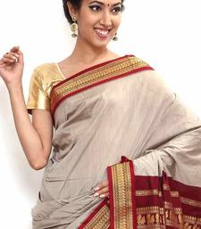 Buy White cotton saree with blouse cotton-saree online